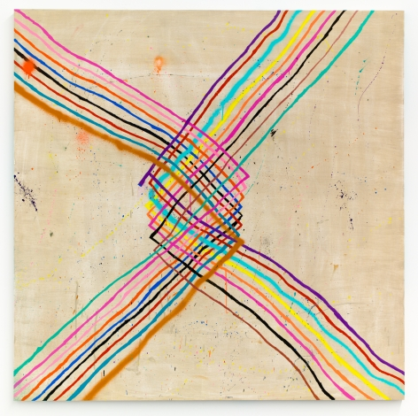 Untitled, 2017, Spray paint, latex paint, pencil and crayon on wood, 60 x 60 inches