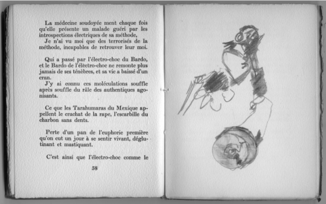 "Antonin Artaud, ""never real and always true / not art but the ra-tée of Soudan and Dahomey"" (1946) by Richard Hawkins,"
