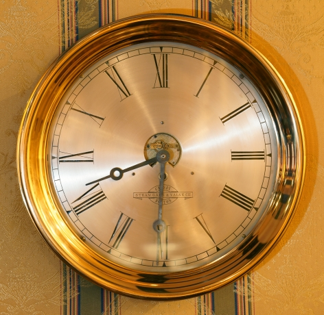 """Important 12"""" Ships Clock with Exposed Escapement, signed Harvard Clock Co., Boston"""