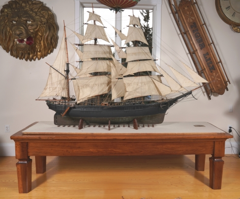 Large Boucher Full Rig Model with Sails of a Barque