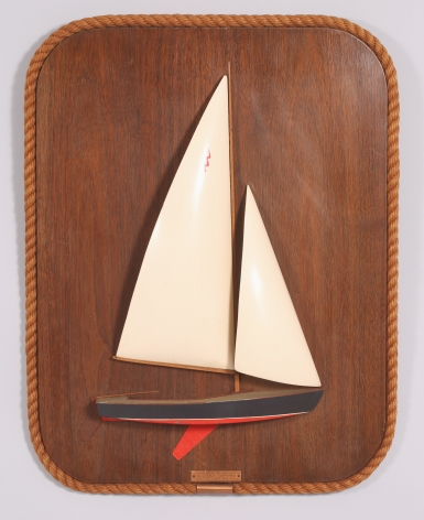 Rigged half Model of a Lightning Class Sail Boat on Backboard