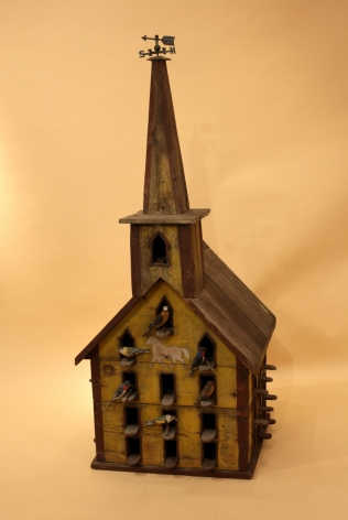 Painted Pine Bird House with carved Birds