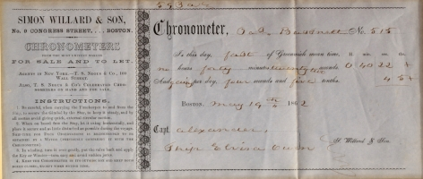 Simon Willard Ships Cronometer Repair Receipt