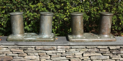 Large Pair of Brass Double Bollards