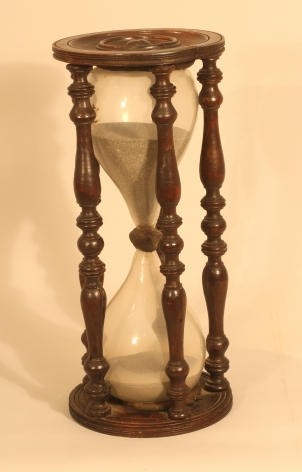 Extreemly Large 18th century Hour Glass with Turned Stretchers