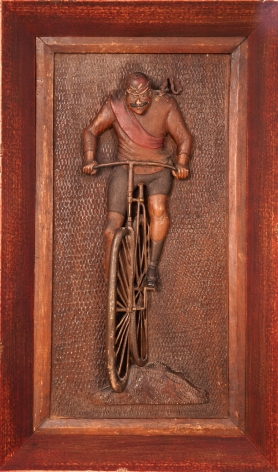 """Carved and Polychrome Paint-Decorated Walnut """"Racing Bicyclist"""" Wall Plaque"""