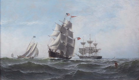 Oil On Canvas Painting of the Ship Albania and Other Vessels circa 1878
