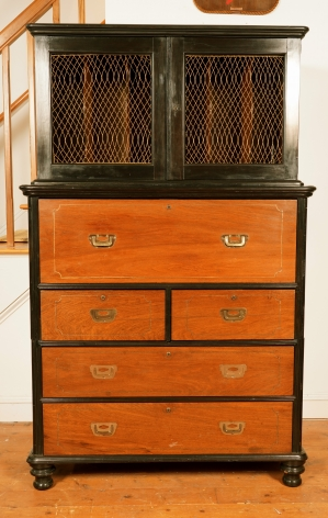 Rare Ebony and Teak Three Part Campaign Secretary Bookcase