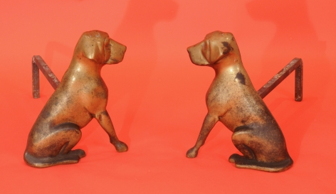 Brass Andirons In the Form of Dogs signed FH Clancy Needham MA