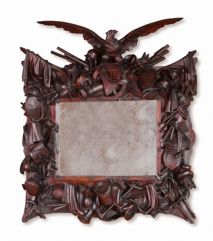 American Centennial Carved Rosewood Frame with History of War Implements with an American Eagle