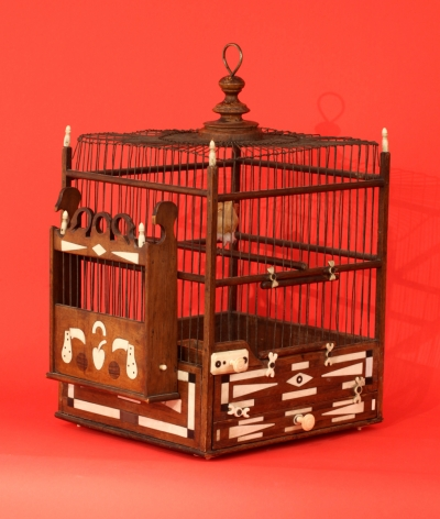 Outstanding Presentation and rare Scrimshaw bird Cage Dated 1862