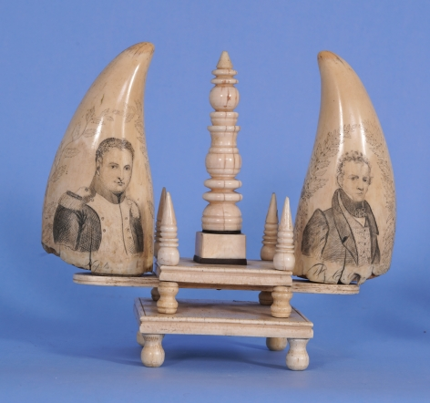 SCRIMSHAW WHALE'S TOOTH WITH PORTRAIT OF THE SHIP CYANE Mid-19th Century