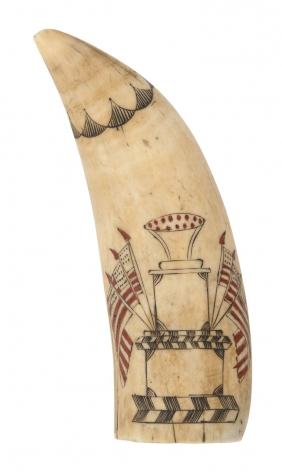 Scrimshaw Whale Tooth with three tier monument with six American flags with inlaid sealing wax, circa 1845