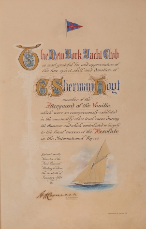 "Illuminated Certificate from NYYC to Sherman Hoyt as a Member of the Afterguard of ""Vanitie"""