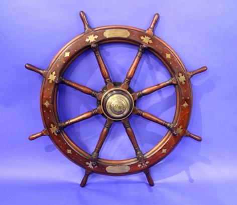Prince of Wales Presentation Inlaid Ship Wheel