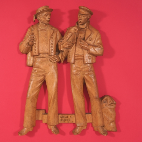 Carved Maple Figureal Carving Depicting Two Sailors and a Parrot signed Aldai S. Hardin and dated 1962