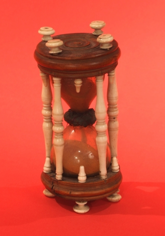 Rare Turned Whale Ivory and Hard Wood Hour Glass circa 1850