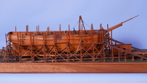 American 19th Century Carved and Painted Diorama of a Shipyard