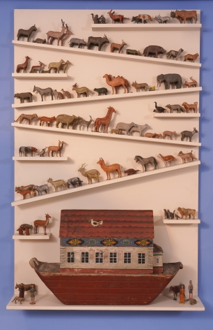 Exceptional German-American Carved and painted Pine Noah's Arc with 139 Animals