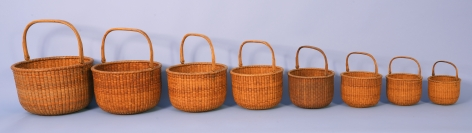 Nest of Eight Labeled Davis Hall Baskets