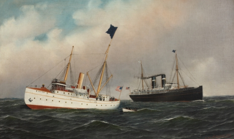 The Ship St Lewis and Pilot Boat New York by Antonio Jacobsen