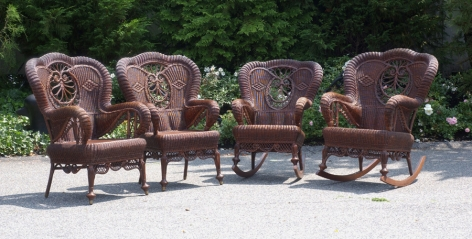 Seven Piece Haywood Wakefield Wicker Parlor set