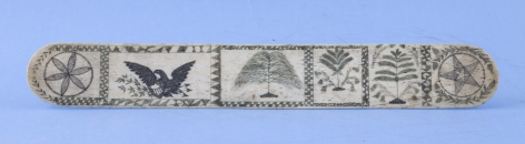 Polychrome Scrimshaw Whale Bone Busk Engraved on Both Sides, American Circa 1860