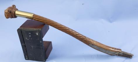 Rope Carved Tiller with Bull Dog Head Carved Grip