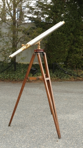Rare Brass Floor Standing Binocular Telescope with Tripod