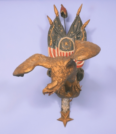 Rare Cast and Polychrome Paint Decorated Zinc Spread Winged Egle with Patriotic Theme, Circa 1880