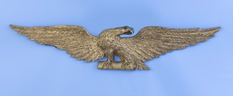Important Carved Gilt Wood Sixty Inch Spread Winged Eagle Clutching a Scroll, American Circa 1860