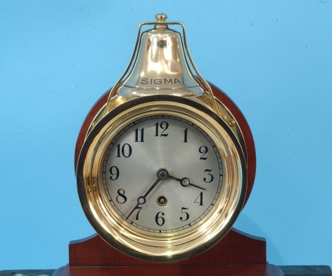 "Boston Ship's Bell Clock form Yacht ""Sigma"" with Print"