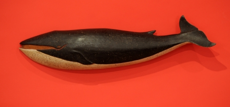 Carved and painted Finback Whale by Clark Voorhees
