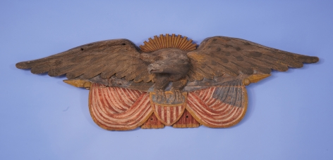 Important 19th Century Carved and Painted American Patriotic Stern Board Carving