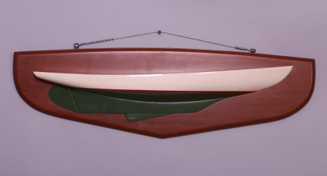 Carved and Painted Half Model of a Cat Boat signed and dated Malcolm Crosby 1974