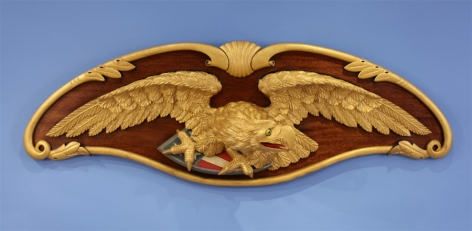 Carved Eagle on Back Board by Peter Libby