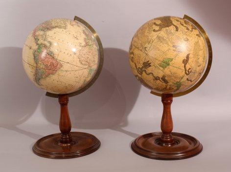 Pair of Joslin 12 Inch Globes with Mono-pod and Round Base