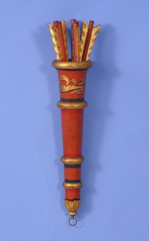Carved and Turned, Decorative Object in the form of a Quiver with Arrows