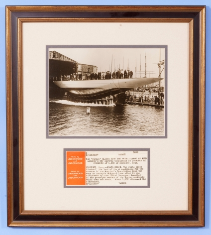 Photograph of the Launching of J Class Yacht Yankee for 1930 America's Cup