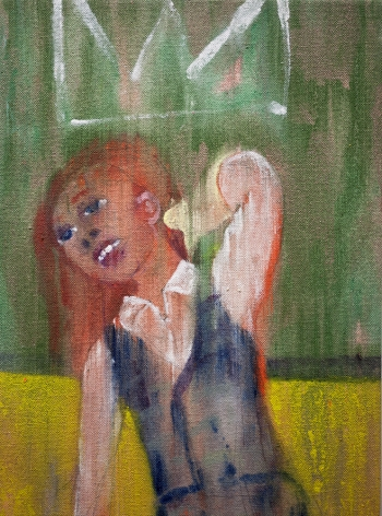 Danny Licul Sock Puppet Presentation (#31), 2013 Acrylic and oil on canvas 12 x 9 in. / 30.5 x 22.9 cm.