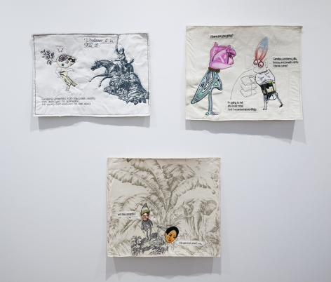 China Marks fabric and embroider collage artwork installation view