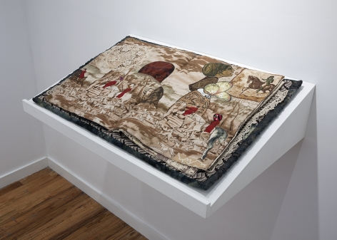 China Marks fabric and embroidery collage artist book