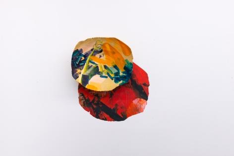 Rachael Gorchov paint on ceramic wall sculpture