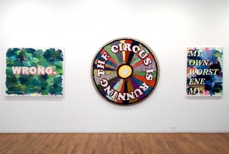 David Kramer paintings installation with hook rug
