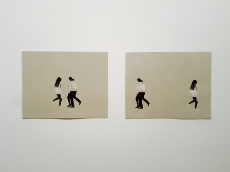Elin Rødseth Strollers I & II, 2018 Photopolymer and color woodcut in two parts 11 7/8 x 15 in. / 30 x 38 cm. each Edition of 30