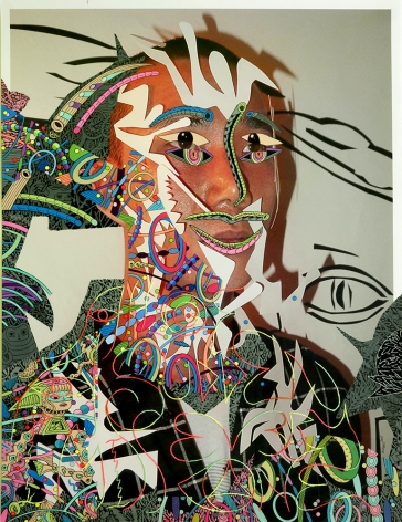 Dex Fernandez All of a Sudden I Miss Everyone, 2015 Acrylic, ink and embroidery on digital photograph
