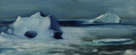 Karen Marston iceberg Panorama Study, 2017 Oil on 2 wood panels