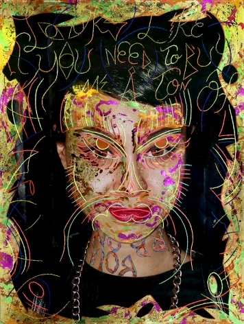 Dex Fernandez Burboun, 2015 Acrylic, ink, gold leaf and embroidery on digital photograph