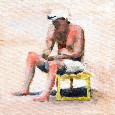 mark mann O.U.P. - Nick, 2015 Acrylic on canvas 8 x 8 inches (framed)