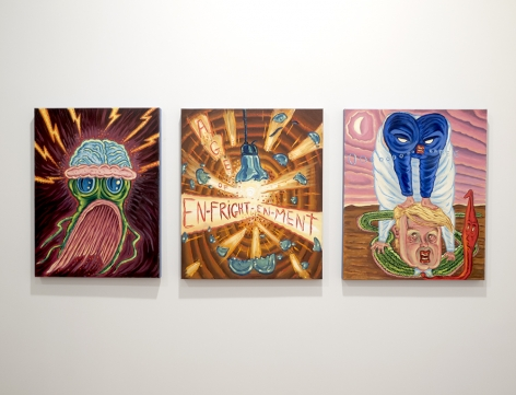 a row of small david sandlin painting